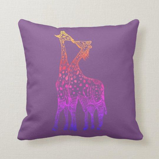 Giraffes Kiss colorful art Throw Cushion