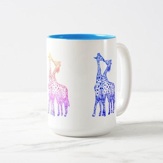 Giraffes Kiss Drawing 444 ml  Two-Tone Mug