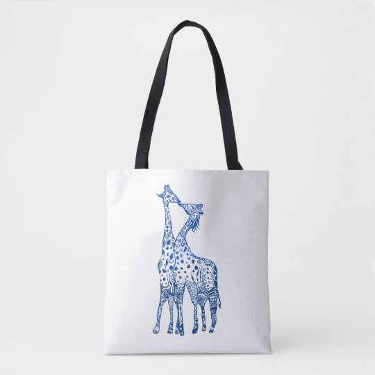 Giraffes Kiss Drawing All-Over-Print Tote Bag