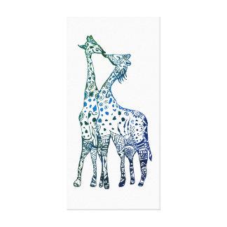 Giraffes Kiss Drawing Single Print