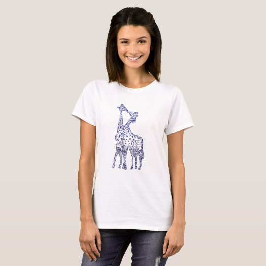 Giraffes Kiss Drawing Women's Basic T-Shirt, White T-Shirt