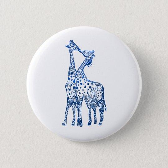 Giraffes Kiss Round Badge