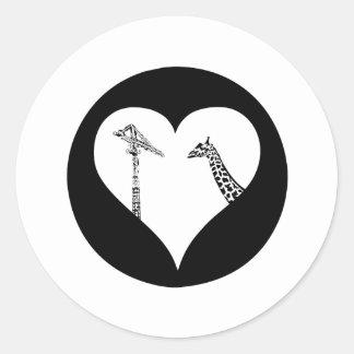 Giraffes Love Cranes Classic Round Sticker