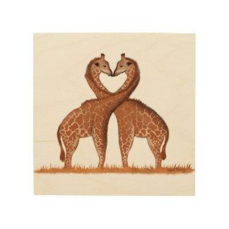 Giraffes Love Heart Wood Panel Wall Art