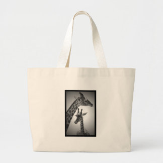 giraffes, mother and child large tote bag