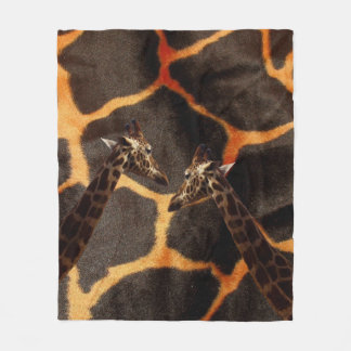 Giraffes On Exotic Giraffe Background, Fleece Blanket