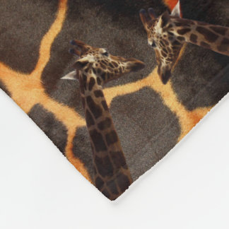 Giraffes On Exotic Giraffe Background, Small Fleece Blanket