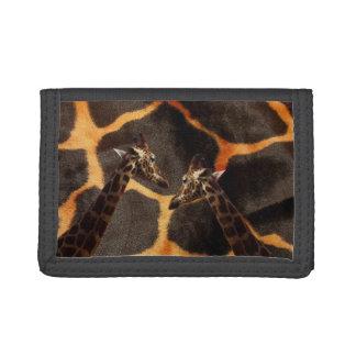 Giraffes On Exotic Giraffe Background, Tri-fold Wallet