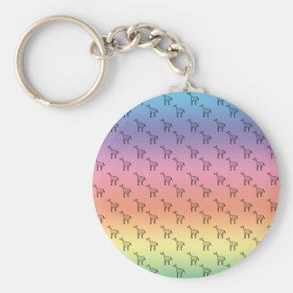 Giraffes on rainbow pastel basic round button key ring