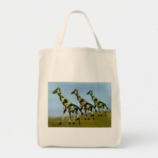 Giraffes on the African Plain Organic Grocery Tote Bag