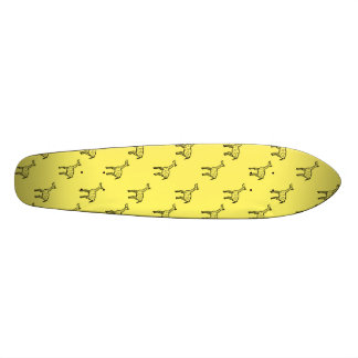 Giraffes on yellow skate boards
