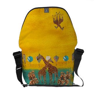 Giraffes Orange Blossom Messenger Bag