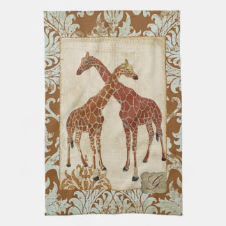 Giraffes Orange Blossom Towels