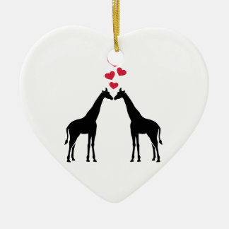 Giraffes red hearts love christmas ornament