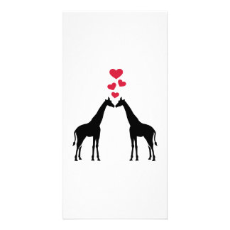 Giraffes red hearts love photo card template