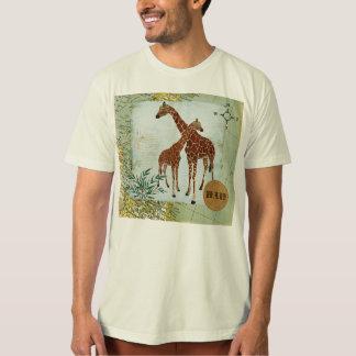 Giraffes Retro Map  Dad T-shirt