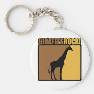 Giraffes Rock! Basic Round Button Key Ring