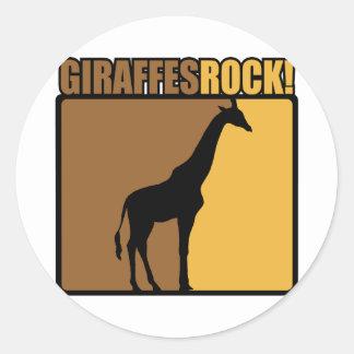 Giraffes Rock! Classic Round Sticker