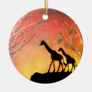 Giraffes Round Ceramic Decoration