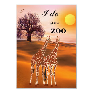 Giraffes Safari Zoo Wedding Invitation