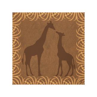 Giraffes Silhouette | Facing Left | Safari Theme Canvas Print