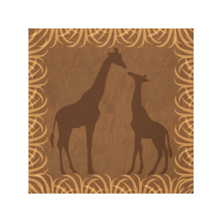 Giraffes Silhouette | Facing Left | Safari Theme Gallery Wrapped Canvas