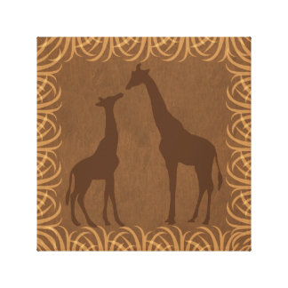 Giraffes Silhouettes | Facing Right | Safari Theme Stretched Canvas Prints