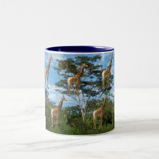 giraffes - the image is artistic effects Two-Tone mug