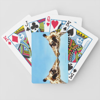 Giraffes touching noses bicycle playing cards