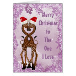 Giraffes Under the Mistletoe Purple Christmas Card
