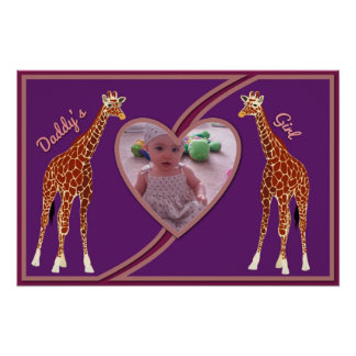 Giraffes w/Heart Your Photo Daddy's Girl Poster