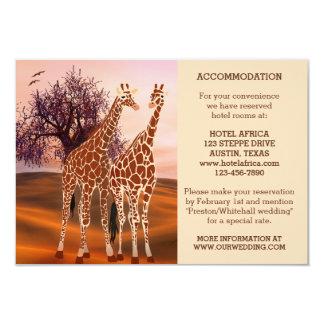Giraffes Zoo Wedding Insert or Accommodation Card 9 Cm X 13 Cm Invitation Card