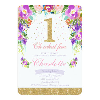 Girl 1st Birthday Invitation Floral Pink Gold