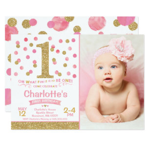 Girl 1st Birthday Invitation Pink Gold Confetti