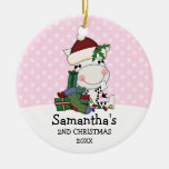 Girl 2nd Christmas Santa Zebra Personalised Round Ceramic Decoration