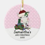 Girl 2nd Christmas Santa Zebra Personalised Round Ceramic Decoration