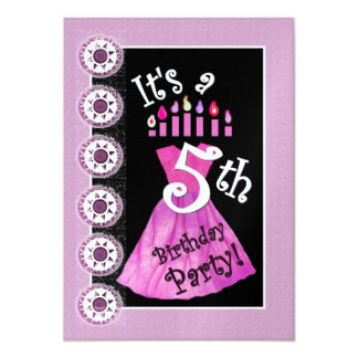 Girl 5th Birthday Party Invitation PINK Candles