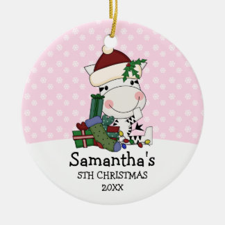 Girl 5th Christmas Santa Zebra Personalized Christmas Ornament