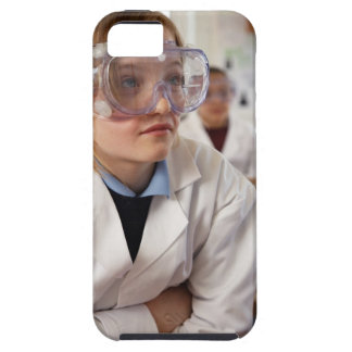 Girl (9-12) wearing protective goggles in iPhone 5 cover