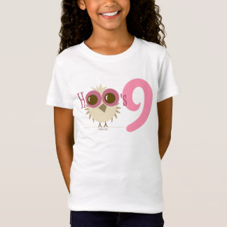 Girl 9th Birthday Party Gifts Pink Owl Age 9 Tees