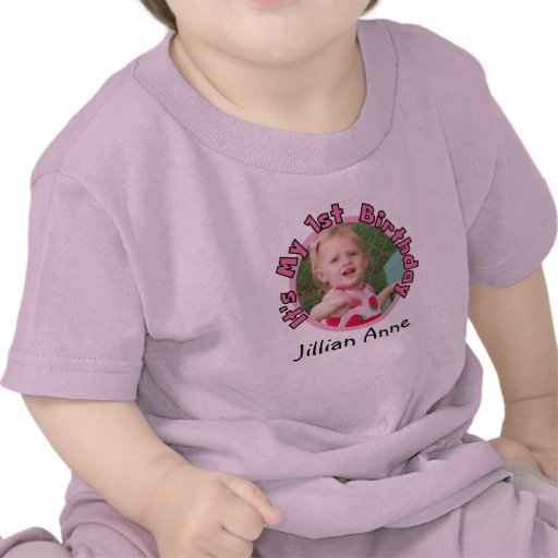 Girl Add Photo and Name 1st Birthday T-shirt