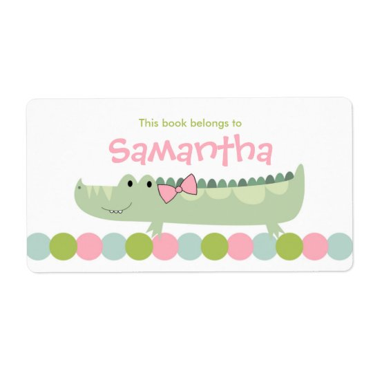 Girl Alligator Bookplate Label  / Book Plate