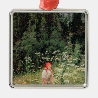 Girl among the wild flowers, 1880 christmas ornament