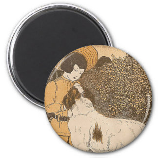 Girl and a dog 6 cm round magnet
