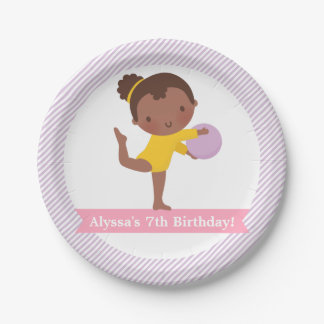 Girl and Ball Gymnastics Kids Birthday Party Plate