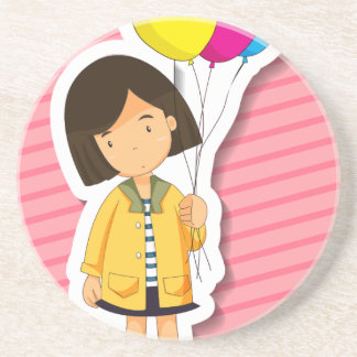 Girl and balloons sandstone coaster