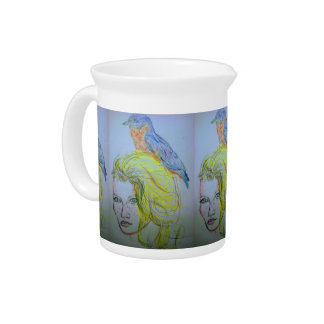 Girl and Bird Pitcher