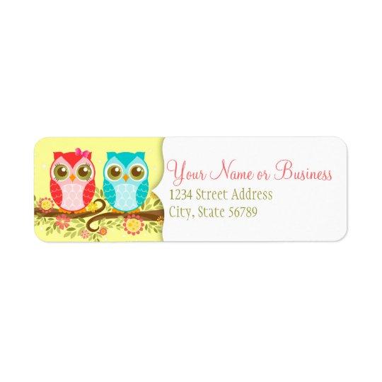 Girl and Boy Owls - Custom Return Address Labels