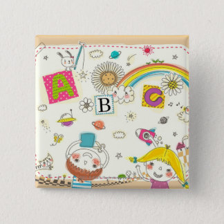 Girl and boy playing by blackboard 15 cm square badge