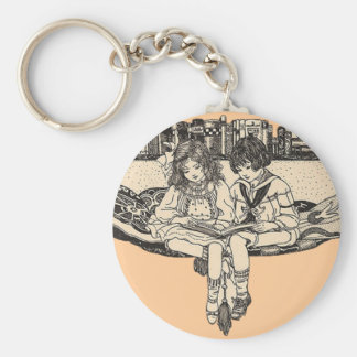 Girl and Boy Reading Basic Round Button Key Ring